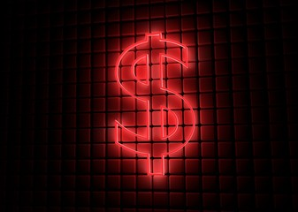 red neon symbol of dollar