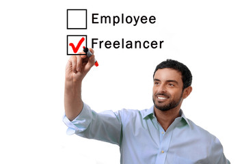 businessman freelancer or employee ticking box with marker