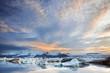 Jokulsarlon Ice Lagoon in sunset light, Iceland