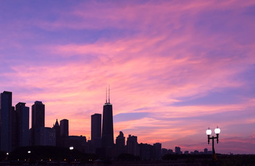 Chicago skyline during sunset