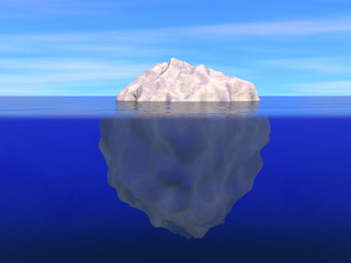 Iceberg above and below the level of ocean