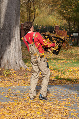 Carring autumn leaves