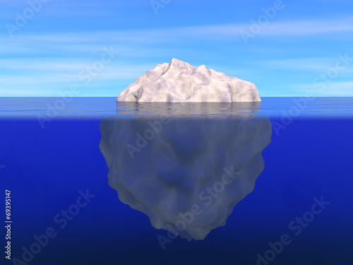 Iceberg above and below the level of ocean - 69395147
