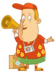 Speaking on megaphone