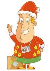 Wearing Santa Hat