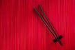 Chopsticks on bamboo mat