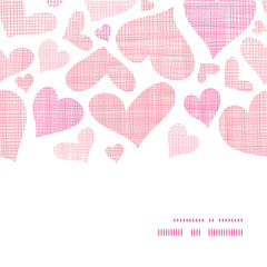 Pink textile hearts horizontal frame seamless pattern background