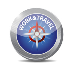 work and travel compass illustration design