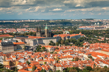 View of Prague castle from Petrin Tower