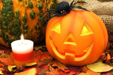 Halloween Jack o Lantern with leaves and autumn decor