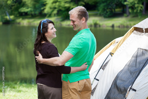 canvas print picture Happy couple on camping