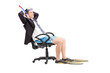 Businessman with a snorkel relaxing in an office chair