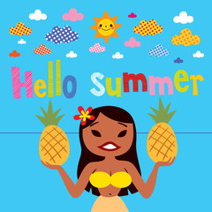 Hello summer hula girl