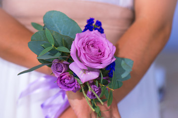 Bridesmaids flowers. Floristic composition in vintage style. Th