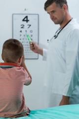 Boy during vision examination