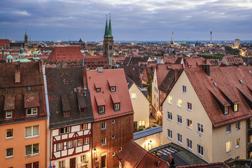 Nuremberg, Germany Dusk Skyline