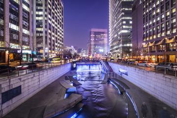 Seoul, South Korea Cityscape at Cheonggye Stream