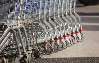 Row of shopping carts.