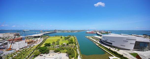 Aerial panoramic Downtown Miami