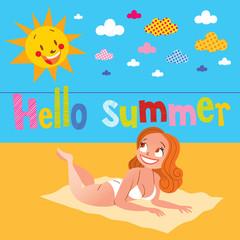 Hello summer pretty girl sunbathing on the beach