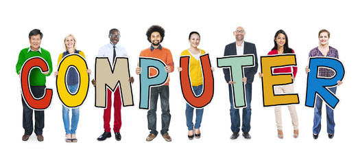 Group of Diverse People Holding Letter Computer