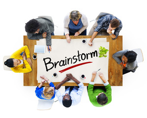 Multiethnic Group with Brainstorm Concept