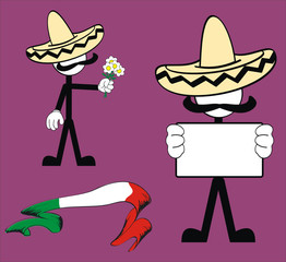 mexican pictogram cartoon set