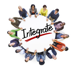 Group of People Holding Hands with Letter Integrate