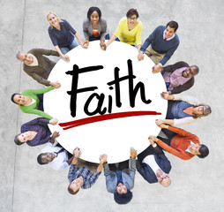 Diverse People Holding Hands Faith Concept