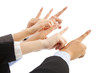 business people hands point to same direction