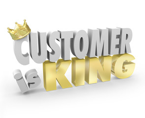 Customer is King 3d Words Crown Top Priority Service