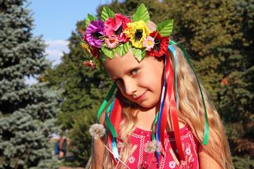 Little girl in wreath