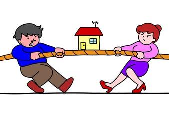 家をめぐって争う男女