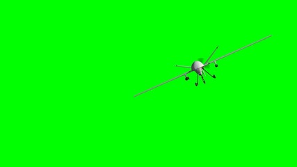 armed predator drone in flight on the camera - green screen