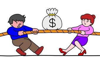 お金をめぐって争う男女