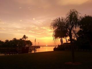 Sunset at Treasure Island in Florida at Gulf Coast