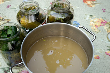 Cucumber pickling - Brian collected for sterilization
