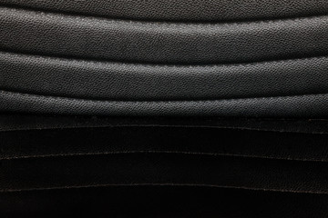 Close up black leather of chair