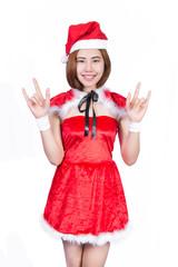 Pretty Asian girl in Santa costume for Christmas on white backgr