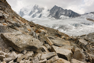 boulders at Glacier du Tour in French Alps