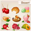 Set of different food icons. Dessert.