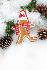 Christmas gingerbread man and space for text