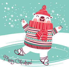 Christmas card with cute polar bear on an ice rink.