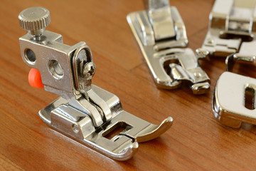 Close up of separated sewing machine head
