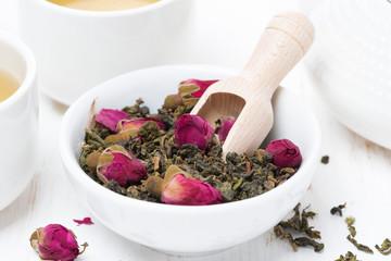 green tea with rosebuds, close-up
