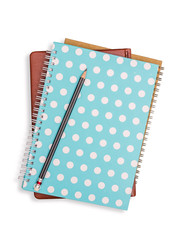 Notebook stack and pencil. Schoolchild and student studies acces