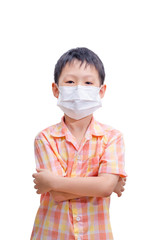 Asian boy in medicine healthcare mask isolated on white backgrou