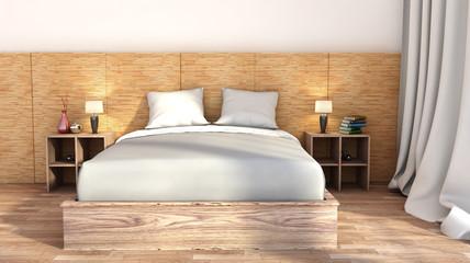 bedroom with wood trim