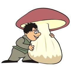 Man and mushroom