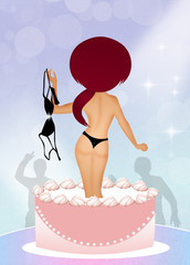 girl surprise in the cake
